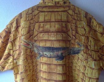 Vintage Alligator Shirt  ZAVA Guayabera Shirt Reptile Hide  Men's Vintage Hawaiian Shirt size L Large Made in USA Photo Print  Fabric