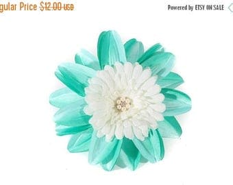 FLASH SALE Aqua and White Tropical Pinup Hair Flower Fascinator Clip with Pearls