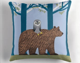 "The Owl and The Bear - Childrens Throw Pillow / Cushion Cover (16"" x 16"") by Oliver Lake / iOTA iLLUSTRATION"
