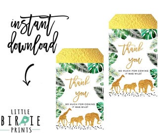 JUNGLE BABY SHOWER favor tags Jungle party favor tags Jungle baby shower decorations Lion Elephant Giraffe Gold Jungle Decorations Animals