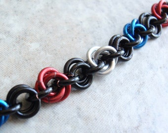 Chain Maille Anklet / Bracelet Red White and Blue Patriotic Colors Mobius Birds Nest Hand Made