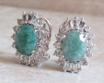 Sterling Emerald Earrings Colorless Topaz Accents Pierced Vintage CW0272