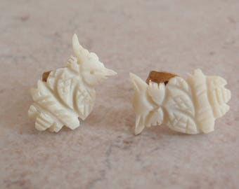 Carved Owl Earrings Bone Studs Tiny Vintage 111314WH