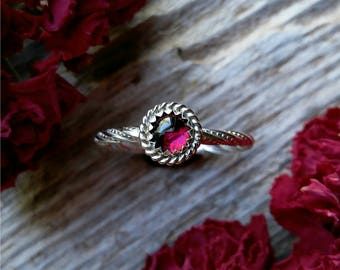 Garnet Ring Size 7 Sterling Silver Red Stone Gemstone 925 Jewelry January Birthstone