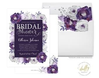 Bridal Shower Invitation, Purple Bridal Shower Invite, Bridal Shower Invite, Floral Shower Invite, Wedding Shower Invite, 5x7 Printable