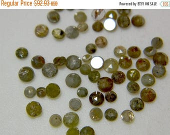 ON SALE 55% Natural Diamond, Rose Cut, Rough Diamond, Raw Diamond, Faceted Cabochon, Yellow Diamond, 5mm To 4mm Each, 3 Pieces