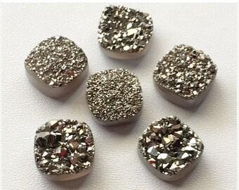 ON SALE 55% Dark Silver Druzy,Titanium Dark Silver Druzy, Matched Pairs, Cushion Druzy, Druzy Jewelry, Silver Druzy Cabochon, Druzy Bead, 2