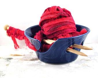 Ceramic Yarn Bowl Cobalt Blue Handmade Pottery Gift for Knitters Crochet Knitting & Knitting Organizer and Storage by DeeDeeDeesigns