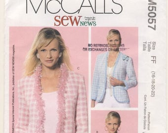 McCall's 5057 Misses/Petite Lined Jacket Plus Sizes  16 - 18 - 20 - 22