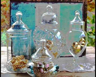 Glass Apothecary Jar Collection / Wedding Candy Bar Buffet / Vintage Glass Jars / Vintage Display Jars