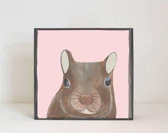 woodland nursery art, forest animal nursery prints, 5x5 wooden art block, squirrel print, forest decor, woodland animals, redtilestudio