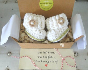 Grandparent Pregnancy Announcement, BOOTIES IN A BOX® Pregnancy Reveal Booties, Newborn Baby Booties,  Custom Message, Ready To Ship