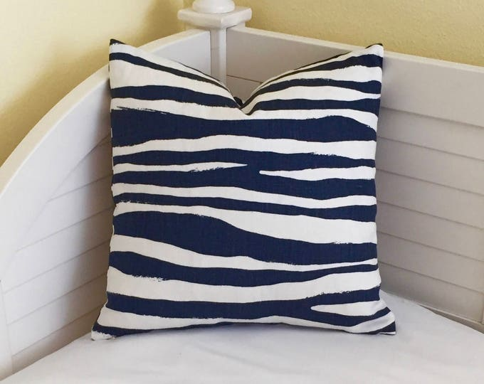 Zebra Stripe in Navy Blue  Linen Designer Pillow Cover - Square, Euro, Lumbar, Body Pillow Sizes