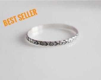 Thin Ring  / Thin Dainty Ring / Midi Ring/  Ultra Thin Ring Made to Size Ring /  Sterling Silver Ring / Patterned Ring / Small Silver Ring /