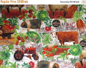 ON SALE Unique Farm Collage with Animals Print Pure Cotton Fabric--By the Yard