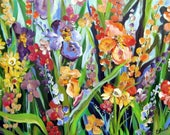 Iris and Daffodils Original Painting 24 x 48  Commission for Carrie Fine art by Elaine Cory