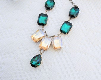 Emerald Necklace, Emerald and Champagne Necklace, Crystal Necklace, Vintage Inspired Necklace, Art Deco Necklace, Old Hollywood Glam