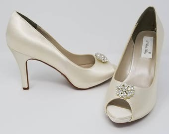Ivory Wedding Shoes Ivory Bridal Shoes with a Sparkling Crystal Flower Design -  Over 100 Colors To Pick From