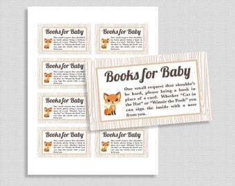 Books For Baby Shower Invitation Insert, Book Request, Fox, Woodland Animals, DIY Printable, INSTANT DOWNLOAD