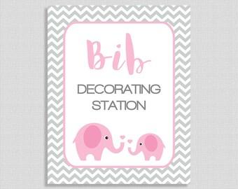 Bib Decorating Station Shower Sign, Pink Elephant Shower Table Sign, Grey Chevron, Baby Girl, 2 Sizes, DIY Printable, INSTANT DOWNLOAD