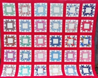 Vintage Patchwork Quilt, Hand Quilted