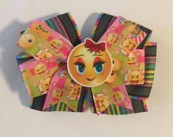 Bright Layered Emoji Hair Bow