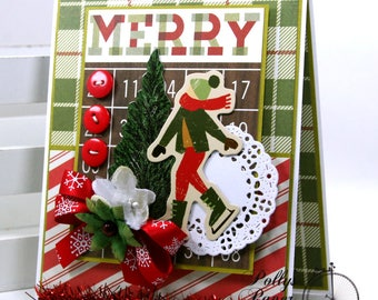 Merry Bingo Christmas Greeting Card Polly's Paper Studio Handmade