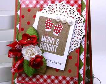 Merry Mittens Christmas Greeting Card Polly's Paper Studio Handmade