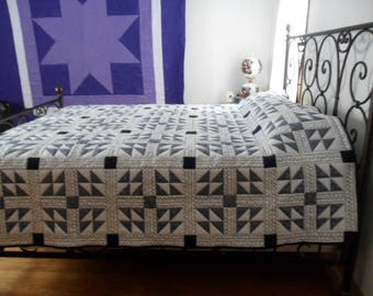 Indigo and white Churn Dash Quilt