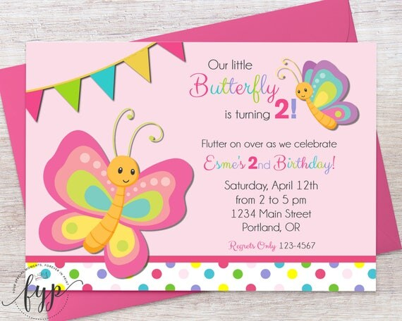 Butterfly Birthday Invitation Girls Birthday Party Invite - Butterfly birthday invitation images