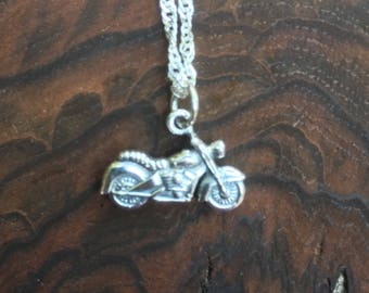 Mortorcycle Sterling Silver Charm, Pendant Necklace, motorcycle gift, co-worker gift, bridesmaid gift, Bff Gift, daughter gift,