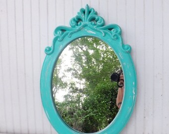 ON SALE Shabby Chic Mirror / Wall Mirror / French Country Mirror / Baroque / Oval Decorative Mirror