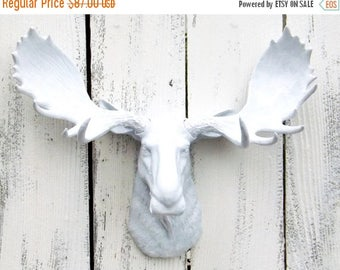 ON SALE White Moose /Faux Taxidermy Moose Head  / Moose Wall Decor /White  Moose Head / Moose Head Wall Bust