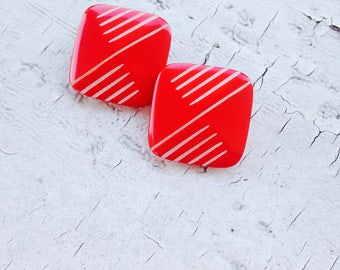 Earrings-Vintage Earring-1980's-Striped-Red-Independence Day-4th of July- Vintage Reclaim-Retro-Square-Clip On