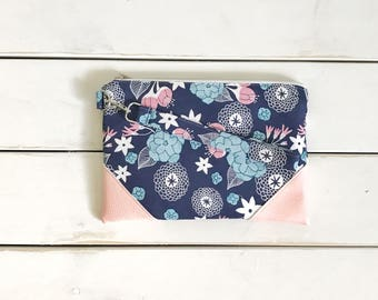 FUNKY FLORALS COLLECTION Navy and Baby Pink Mommy Clutch - Wallet Clutch - Small handbag - Blue - Wristlet