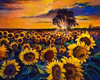 Oil Painting Landscape Painting Canvas Art Framed Art Sunflower Field Painting Abstract Art Wall Art Large Art Canvas Painting Sunset