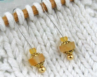 Knitting Stitch Markers, Citrine Crystals, Semi-Precious Stones, Golden Yellow, Snag Free, Knitting Tool, Accessory, Gift for Knitters