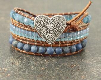 Bold Heart Bracelet Silver Turquoise Denim Blue Heart Jewelry Shabby Boho Chic Triple Leather Wrap Bracelet
