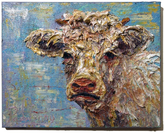 SOLD - Oil Paint on Stretched Canvas of 16 by 20 by 3/4 in. / Original oil painting cow calf animal landscape wildlife signed pop cows