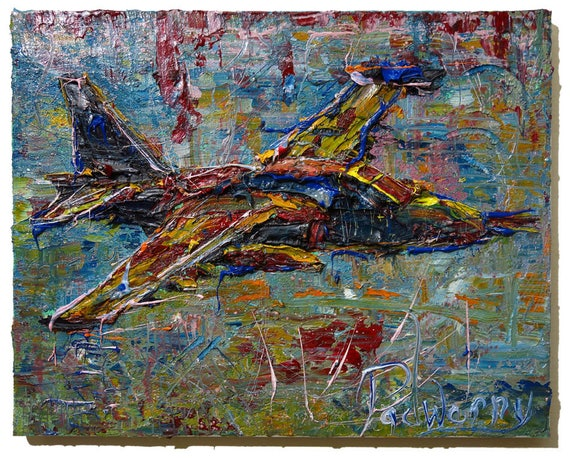 Oil Paint on Stretched Canvas of 20 by 16 by 3/4 in. / Original oil painting impressionist plane fighter war vintage art realism