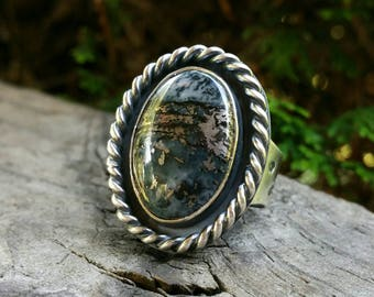 Native Sterling Silver Ring with Stamped Band size 10