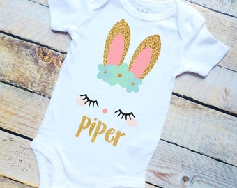Personalized (any name) Easter bunny gold glitter pink mint bodysuit/girls shirt