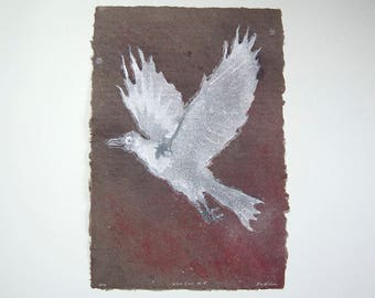 White Crow No. 5 – pulp painting of crow on handmade corduroy / cotton paper (2016), Item No. 239.05