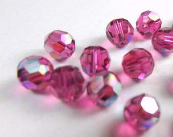 20 Fuchsia AB Swarovski 5000 5mm Round Jewelry Beads