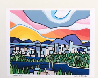 Landscape Art Print of Colorful City and Sky-Lions Gate-Vancouver British Columbia-Interior Decor-Home Decor-Office-Perfect Gift