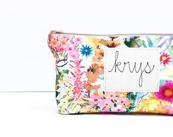 Large Cosmetic Bag, Floral Her, Cosmetic Bag for Her, Personalized Floral Bag, Makeup Bag for Women, Floral Bag for Her, Colorful Her, Case
