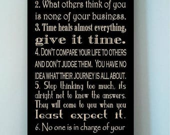 ON SALE Beautiful 10x24 wooden board sign with subway art quote..7 Rules of Life