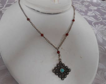 Vintage necklace, sterling silver, turquoise, and red bead Native American signed necklace, pendant necklace