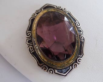 Antique dress clip, 1930's purple crystal and black enamel dress clip, patent No. 1852188 E.A.Phinney collectible jewelry