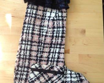 pink and black plaid x-mas stocking